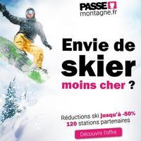 Carte ski Passe Montagne à 6€ (12-30ans) qui donne jusqu'à 50% de réduction sur les forfaits