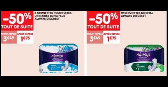 Bon Plan Serviettes Always Discreet chez Leader Price (15/01 - 27/01) - anti-crise.fr