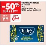 Bon Plan Thé Noir English Breakfast Tetley chez Leader Price (15/01 - 27/01) - anti-crise.fr