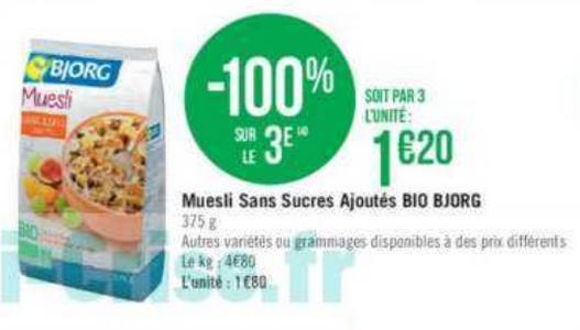 Bon Plan Muesli Bio Bjorg chez Géant Casino - anti-crise.fr