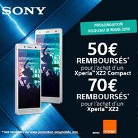 Offre de Remboursement Sony / Orange : Jusqu'à 70€ Remboursés sur Smartphone XPERIA XZ2 ou XZ2 Compact