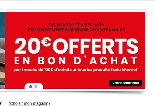 Conforama : 20€ offerts par tranche de 100€