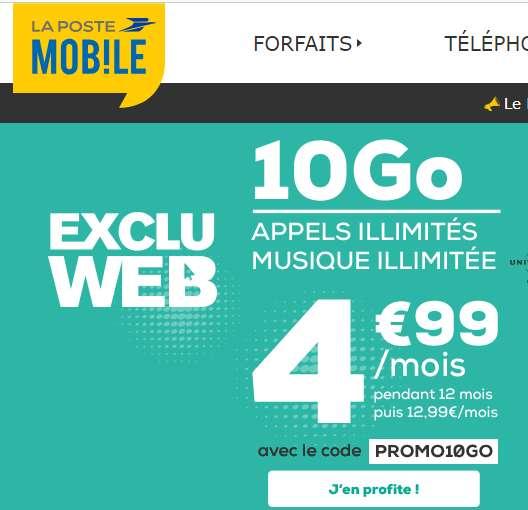 4.99€ par mois le forfait illimite + 10go internet + musique illimité – LaposteMobile