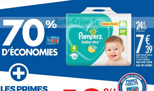 Bon plan couches pampers baby dry chez carrefour 12 02 25 02 catalogues promos bons - Promo couche pampers carrefour ...