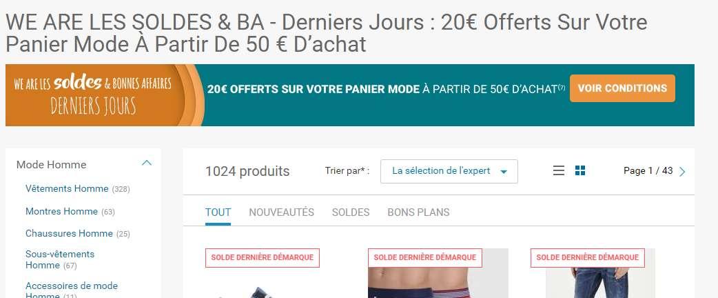 20€ / 50 d'achat sur la mode sur Rueducommerce … des super affaires