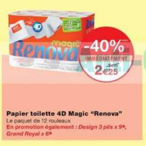 Bon Plan Papier Toilette Renova Magic 4D chez Monoprix - anti-crise.fr