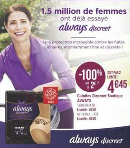 Bon Plan Culottes Always Discreet Boutique chez Géant Casino - anti-crise.fr