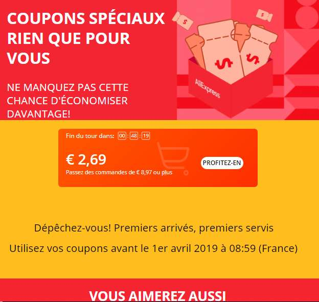 AliExpress : des coupons de réduction sur simple demande (3us$/10us$ 5us$/20us$)