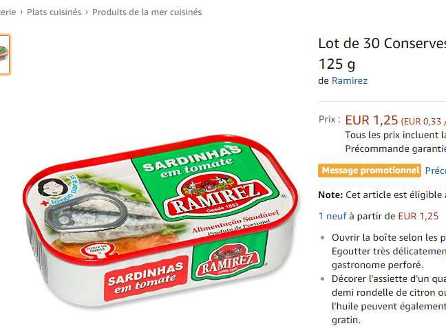1,60€ le lot de 30 boites de sardines – Amazon