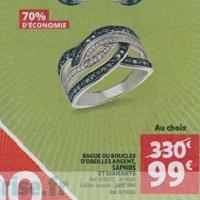 Bijoux Argent Saphirs & Diamants à -70% chez Auchan (27/03 – 02/04)