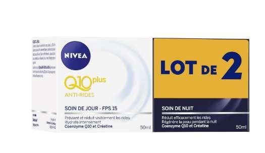 Nivea Q10Plus nuit + jour à 2€ les 3 lots (Drive Carrefour – Nouveau client)