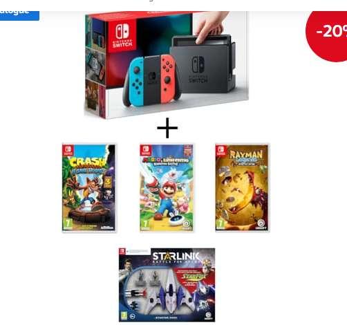 Pack Nintendo Switch + 4 jeux à 359€
