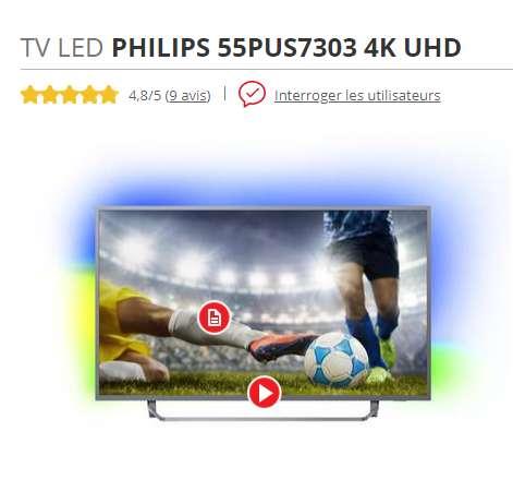520bef4d19e Profitez de ce bon plan Philips   559€ la tv 55PUS7303 4K UHD à retrouver  dans la catégorie Multimédia