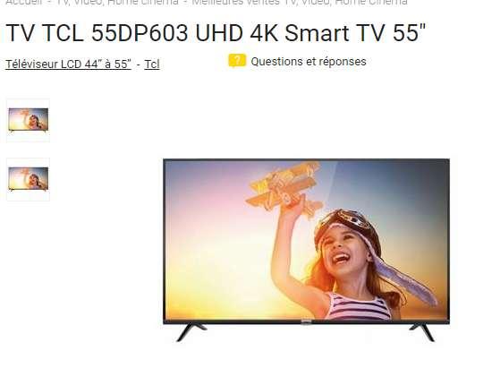 399€ la tv TCL 55DP603