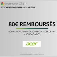 Offre de Remboursement Acer : 80€ Remboursés sur Chromebook + son Sac à Dos