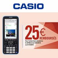 Offre de Remboursement Casio : 25€ Remboursés sur Calculatrice fx-CP400+E
