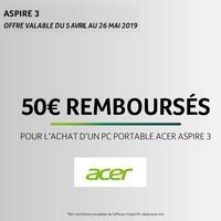 Offre de Remboursement Acer : 50€ Remboursés sur PC Portable Aspire 3