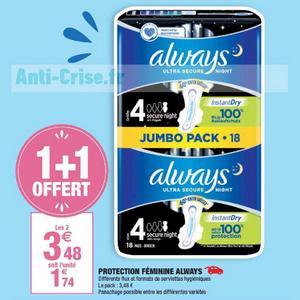 Serviettes Always Ultra chez Carrefour Market (03/05 – 26/05)