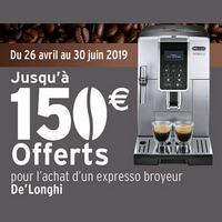 Offre de Remboursement DéLonghi : Jusqu'à 150€ sur Expresso Broyeur