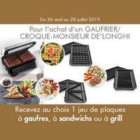 Bon Plan DéLonghi : 1 jeu de Plaques à Gaufres, à Sandwichs ou à Grill Offert