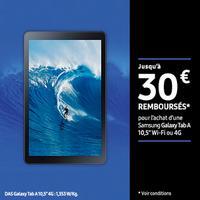 Offre de Remboursement Samsung : Jusqu'à 30€ Remboursés sur Galaxy Tab A 10,5'' Wi-Fi ou 4G