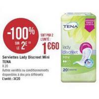 Serviettes Tena Lady Discreet chez Géant Casino (16/04 – 28/04)