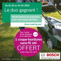 Bon Plan Bosch : 1 Coupe-Bordures Sans Fil Offert pour 1€