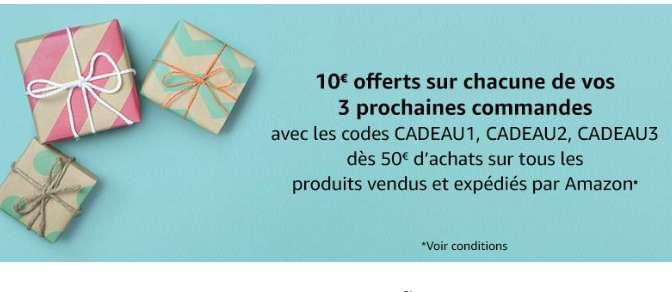 Amazon : 10€ de réduction pour 50 d'achats sur 3 commandes ( certains comptes)