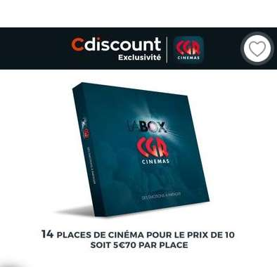 79,9€ la box 14 places cinéma CGR ( 5.8€ la place)