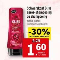 Shampoing ou Après-Shampoing Gliss Schwarzkopf chez Lidl (24/04 – 30/04)