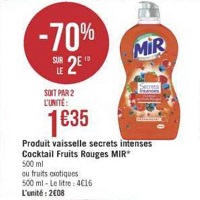 Liquide Vaisselle Secrets Intenses Mir chez Géant Casino (23/04 – 05/05)