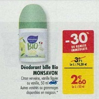 Déodorant Bio Monsavon chez Carrefour (16/04 – 22/04)