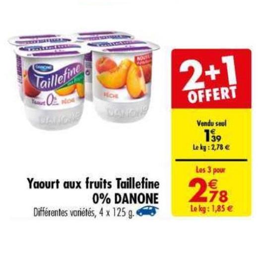 Taillefine Fruits Danone chez Carrefour (23/04 – 29/04)