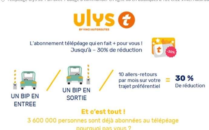 Vinci : 10€ au lieu de 30 le télépeage ULYS 30