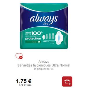 Serviettes Always Ultra chez Intermarché (01/05 – 31/05)