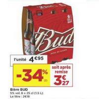 Pack de Bière x6 Bud chez Casino (14/05 – 26/05)