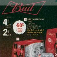 Pack de Bière Bud 6x25cl chez Leclerc (14/05 – 25/05)
