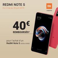 Offre de Remboursement Xiaomi : 40€ Remboursés sur Smartphone RedMi Note 5