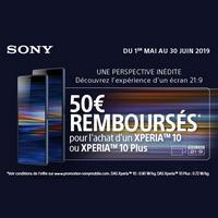 Offre de Remboursement Sony : 50€ Remboursés sur Smartphone XperiaTM 10