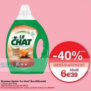 Lessive Le Chat Liquide Eco Efficacité chez Monoprix (08/05 – 20/05)