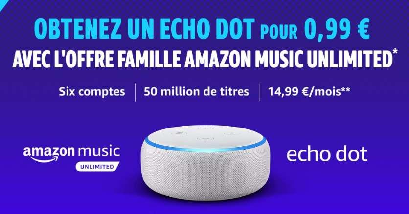 0.99€ au lieu de 59.99€ l'enceinte Echo Dot en souscrivant à Amazon Music Famille