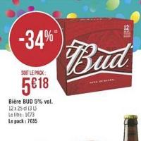 Pack de bière x12 Bud chez Géant Casino (14/05 – 26/05)