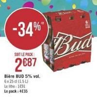 Pack de Bière x6 Bud chez Géant Casino (14/05 – 26/05)
