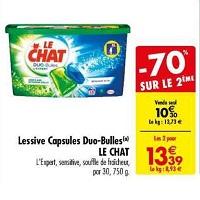 Lessive en Capsules Duo-Bulles Le Chat chez Carrefour (14/05 – 27/05)