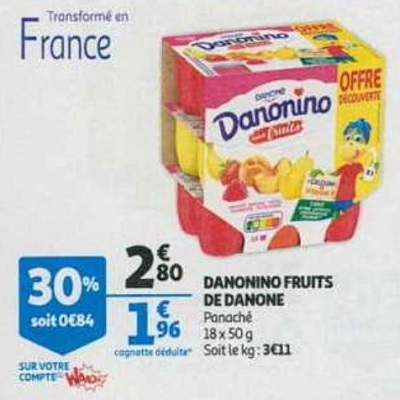 Yaourt aux Fruits Danonino chez Auchan Hypermarché et Supermarché (22/05 – 28/05)