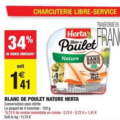 Blanc de Poulet Herta chez Carrefour Market (14/05 – 26/05)
