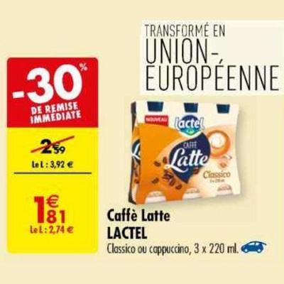 Caffè Latte Lactel chez Carrefour (14/05 – 27/05)