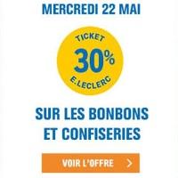 Leclerc : 30% en Ticket Leclerc sur les Bonbons et Confiseries le 22 Mai