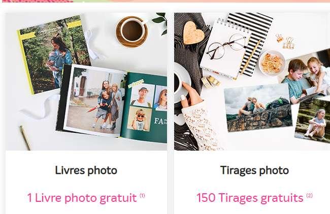 Gratuit : 1 livre photos ou 150 tirages photos