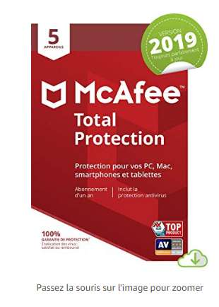 12,9€ l'antivirus McAfee Total Protection 2019  pour 5 appareils